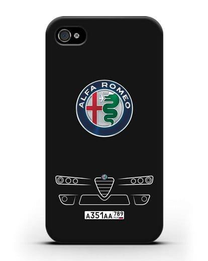 Чехол Alfa Romeo с номерным знаком силикон черный для iPhone 4/4s