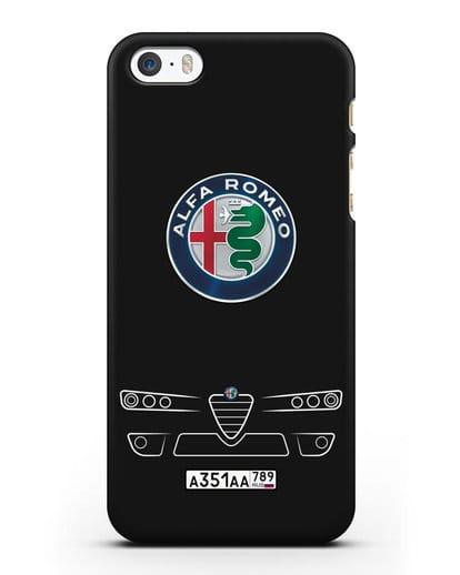 Чехол Alfa Romeo с номерным знаком силикон черный для iPhone 5/5s/SE