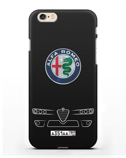 Чехол Alfa Romeo с номерным знаком силикон черный для iPhone 6s