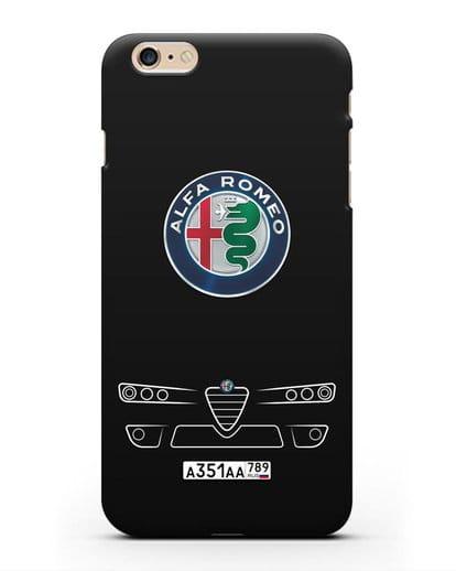 Чехол Alfa Romeo с номерным знаком силикон черный для iPhone 6 Plus