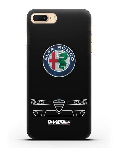 Чехол Alfa Romeo с номерным знаком силикон черный для iPhone 7 Plus
