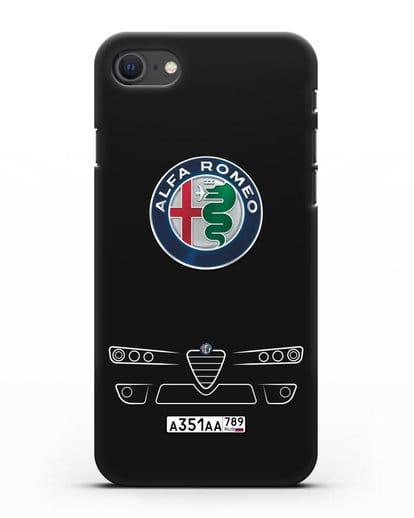 Чехол Alfa Romeo с номерным знаком силикон черный для iPhone SE 2020