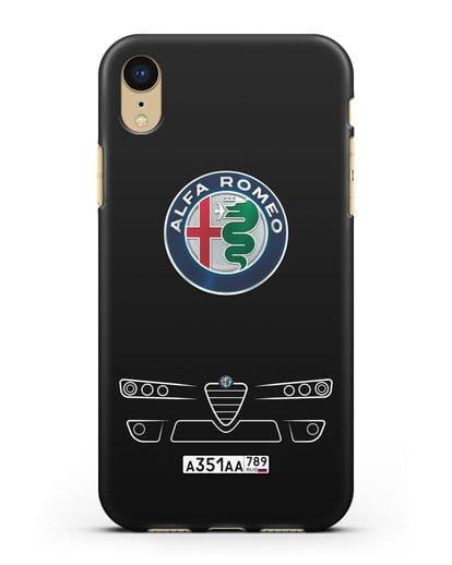 Чехол Alfa Romeo с номерным знаком силикон черный для iPhone XR
