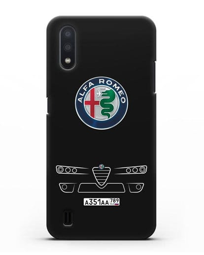 Чехол Alfa Romeo с номерным знаком силикон черный для Samsung Galaxy A01 [SM-A015F]
