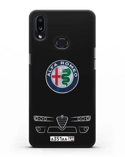 Чехол Alfa Romeo с номерным знаком силикон черный для Samsung Galaxy A10s [SM-F107F]