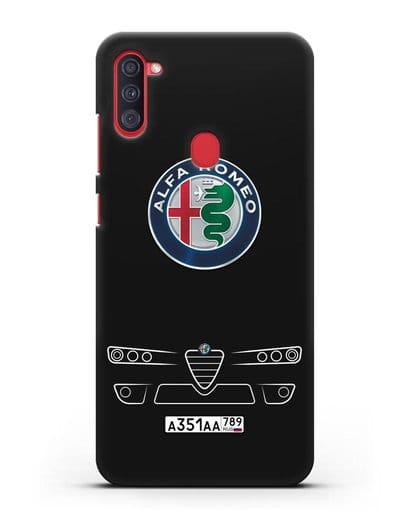 Чехол Alfa Romeo с номерным знаком силикон черный для Samsung Galaxy A11 [SM-A115F]