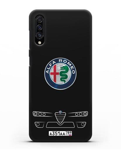 Чехол Alfa Romeo с номерным знаком силикон черный для Samsung Galaxy A30s [SM-A307FN]