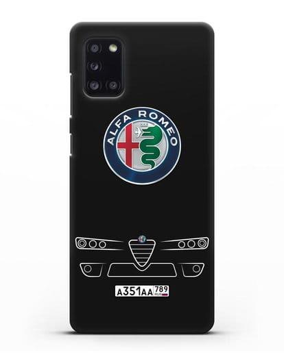 Чехол Alfa Romeo с номерным знаком силикон черный для Samsung Galaxy A31 [SM-A315F]