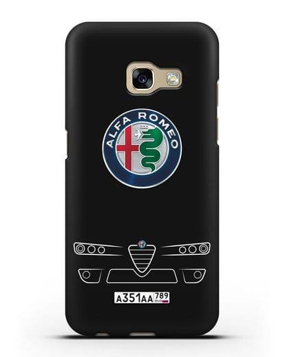 Чехол Alfa Romeo с номерным знаком силикон черный для Samsung Galaxy A3 2017 [SM-A320F]
