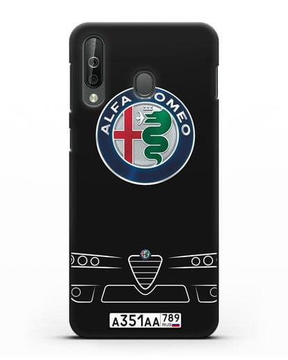 Чехол Alfa Romeo с номерным знаком силикон черный для Samsung Galaxy A40s [SM-A507FN]