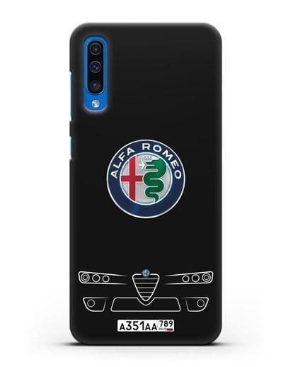 Чехол Alfa Romeo с номерным знаком силикон черный для Samsung Galaxy A50 [SM-A505F]