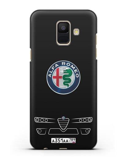 Чехол Alfa Romeo с номерным знаком силикон черный для Samsung Galaxy A6 2018 [SM-A600F]