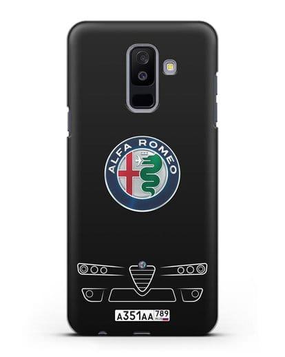 Чехол Alfa Romeo с номерным знаком силикон черный для Samsung Galaxy A6 Plus 2018 [SM-A605F]