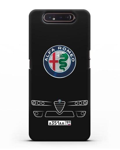 Чехол Alfa Romeo с номерным знаком силикон черный для Samsung Galaxy A80 [SM-A805F]