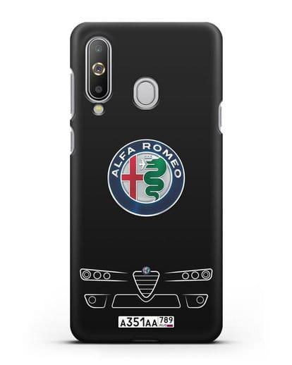 Чехол Alfa Romeo с номерным знаком силикон черный для Samsung Galaxy A8s [SM-G8870]