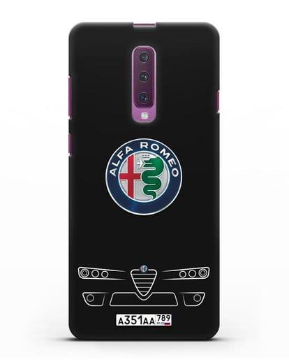 Чехол Alfa Romeo с номерным знаком силикон черный для Samsung Galaxy A90 [SM-A908N]