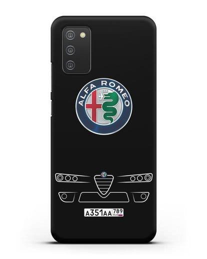 Чехол Alfa Romeo с номерным знаком силикон черный для Samsung Galaxy A02s [SM-A025F]