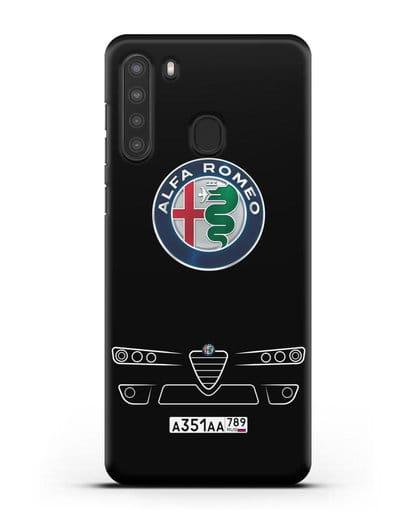 Чехол Alfa Romeo с номерным знаком силикон черный для Samsung Galaxy A21 [SM-A215]