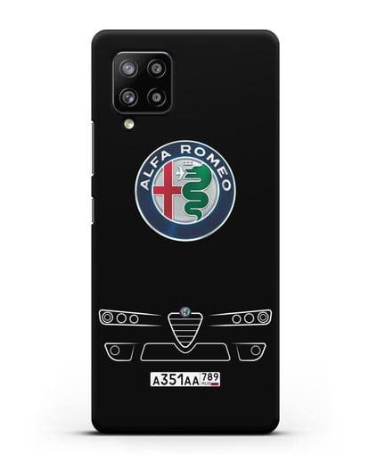 Чехол Alfa Romeo с номерным знаком силикон черный для Samsung Galaxy A42 [SM-A426B]
