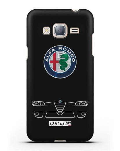 Чехол Alfa Romeo с номерным знаком силикон черный для Samsung Galaxy J3 2016 [SM-J320F]