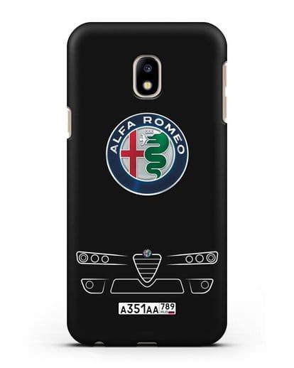 Чехол Alfa Romeo с номерным знаком силикон черный для Samsung Galaxy J3 2017 [SM-J330F]