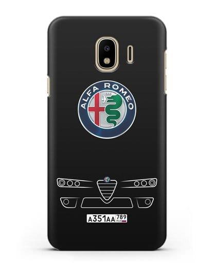 Чехол Alfa Romeo с номерным знаком силикон черный для Samsung Galaxy J4 2018 [SM-J400F]