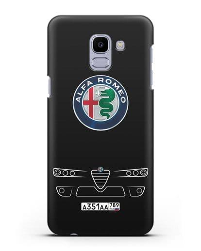 Чехол Alfa Romeo с номерным знаком силикон черный для Samsung Galaxy J6 2018 [SM-J600F]
