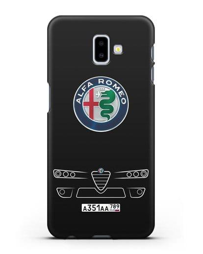 Чехол Alfa Romeo с номерным знаком силикон черный для Samsung Galaxy J6 Plus [SM-J610F]