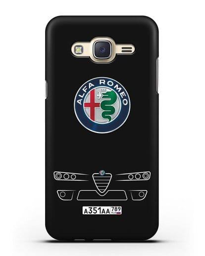Чехол Alfa Romeo с номерным знаком силикон черный для Samsung Galaxy J7 2015 [SM-J700H]