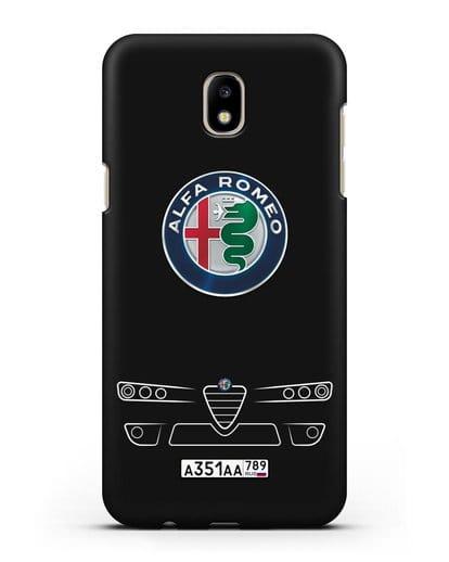 Чехол Alfa Romeo с номерным знаком силикон черный для Samsung Galaxy J7 2017 [SM-J720F]