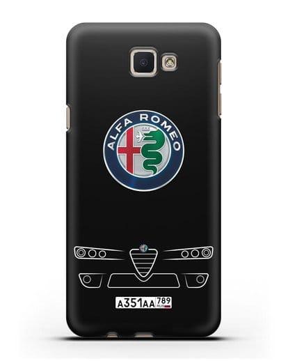Чехол Alfa Romeo с номерным знаком силикон черный для Samsung Galaxy J7 Prime [SM-G610F]