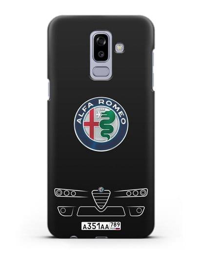 Чехол Alfa Romeo с номерным знаком силикон черный для Samsung Galaxy J8 2018 [SM-J810F]