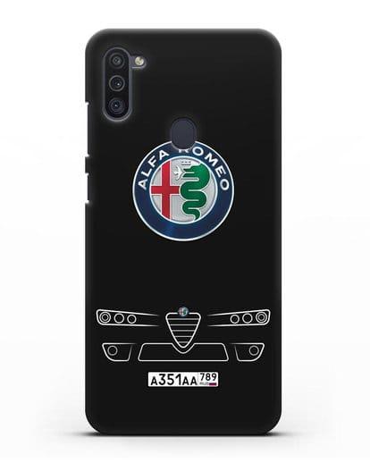 Чехол Alfa Romeo с номерным знаком силикон черный для Samsung Galaxy M11 [SM-M115F]