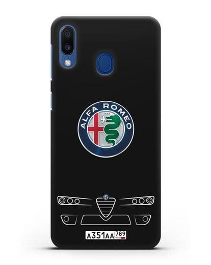 Чехол Alfa Romeo с номерным знаком силикон черный для Samsung Galaxy M20 [SM-M205F]