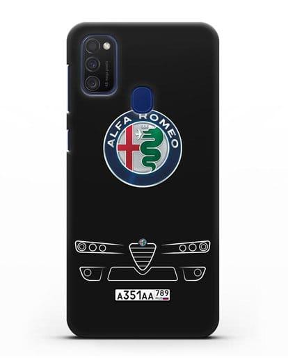 Чехол Alfa Romeo с номерным знаком силикон черный для Samsung Galaxy M21 [SM-M215F]