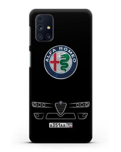 Чехол Alfa Romeo с номерным знаком силикон черный для Samsung Galaxy M51 [SM-M515F]