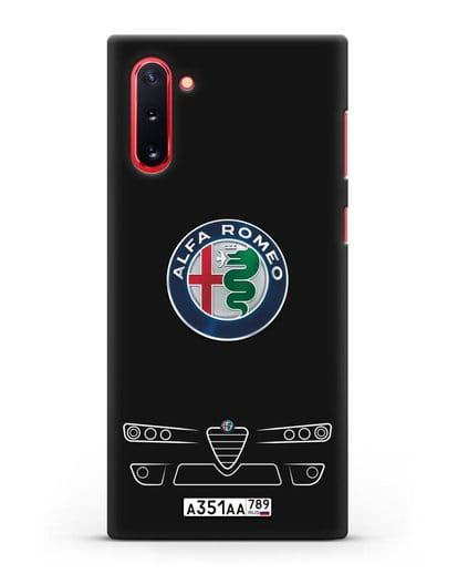 Чехол Alfa Romeo с номерным знаком силикон черный для Samsung Galaxy Note 10 [N970F]