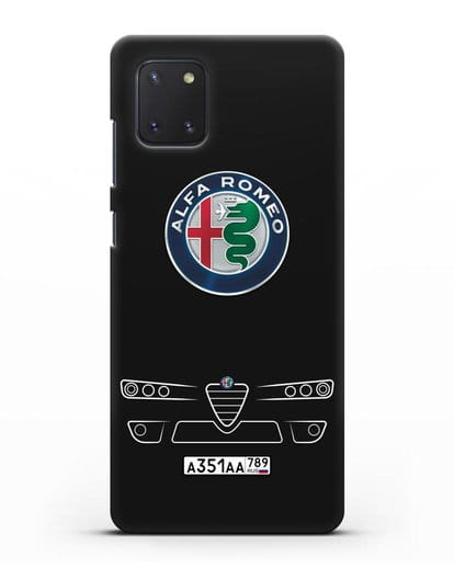 Чехол Alfa Romeo с номерным знаком силикон черный для Samsung Galaxy Note 10 Lite [N770F]