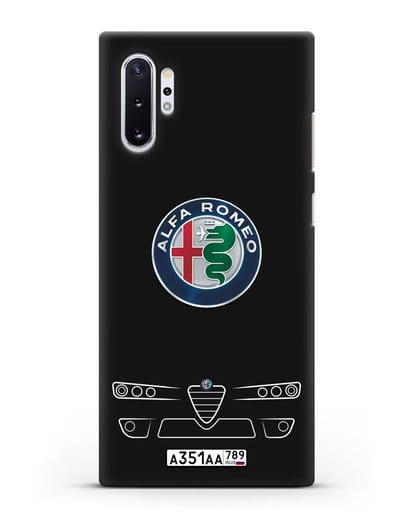 Чехол Alfa Romeo с номерным знаком силикон черный для Samsung Galaxy Note 10 Plus [N975F]