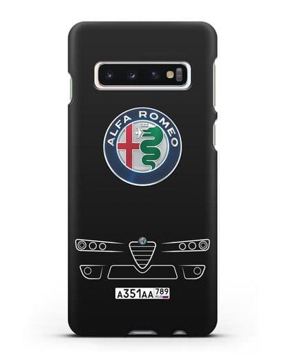 Чехол Alfa Romeo с номерным знаком силикон черный для Samsung Galaxy S10 [SM-G973F]