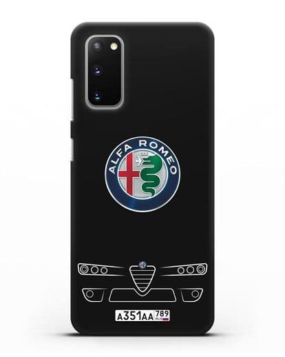Чехол Alfa Romeo с номерным знаком силикон черный для Samsung Galaxy S20 [SM-G980F]