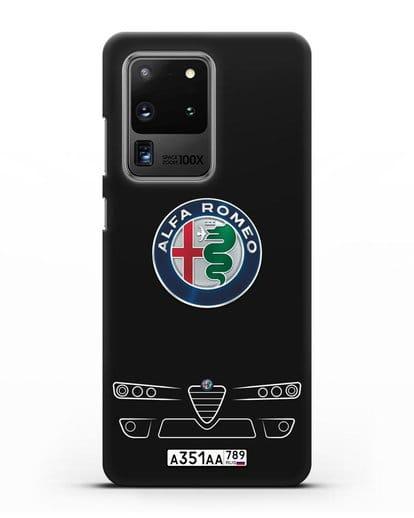 Чехол Alfa Romeo с номерным знаком силикон черный для Samsung Galaxy S20 Ultra [SM-G988B]