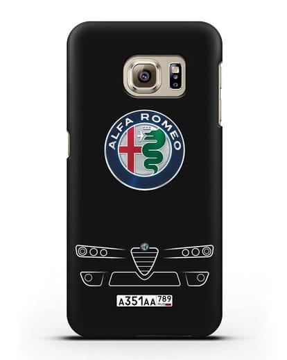 Чехол Alfa Romeo с номерным знаком силикон черный для Samsung Galaxy S6 Edge [SM-G925F]