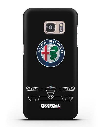 Чехол Alfa Romeo с номерным знаком силикон черный для Samsung Galaxy S7 Edge [SM-G935F]