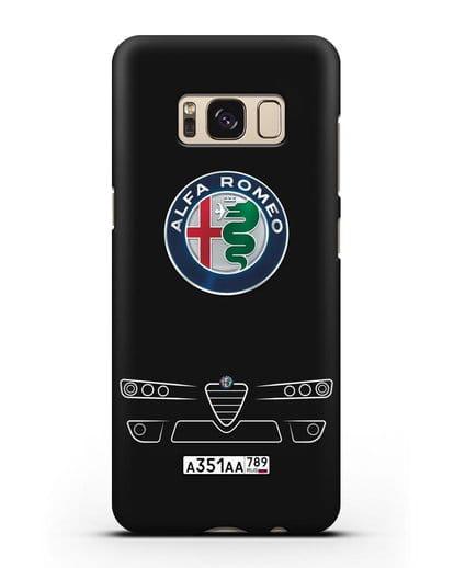 Чехол Alfa Romeo с номерным знаком силикон черный для Samsung Galaxy S8 Plus [SM-G955F]