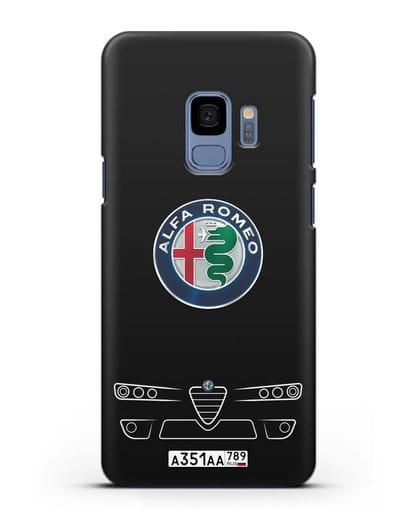 Чехол Alfa Romeo с номерным знаком силикон черный для Samsung Galaxy S9 [SM-G960F]