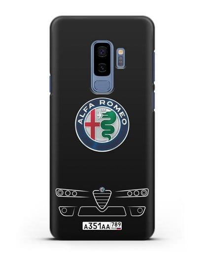 Чехол Alfa Romeo с номерным знаком силикон черный для Samsung Galaxy S9 Plus [SM-G965F]