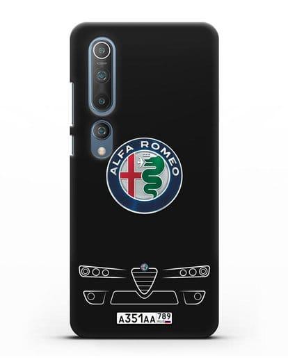 Чехол Alfa Romeo с номерным знаком силикон черный для Xiaomi Mi 10 Pro