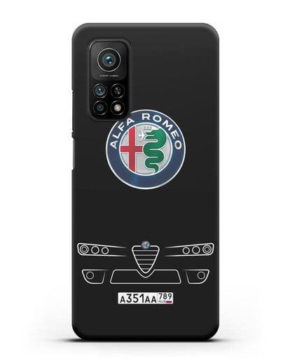 Чехол Alfa Romeo с номерным знаком силикон черный для Xiaomi Mi 10T