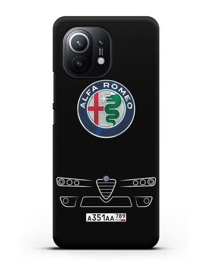 Чехол Alfa Romeo с номерным знаком силикон черный для Xiaomi Mi 11